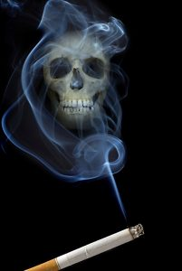 cigarette smoke turning into human skull