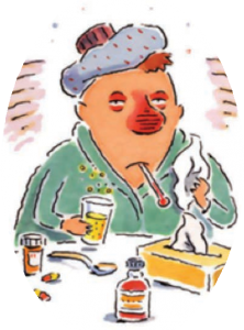 cartoon of man with the flu