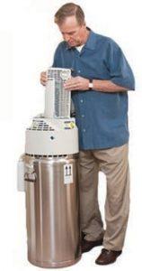 man with liquid oxygen tank