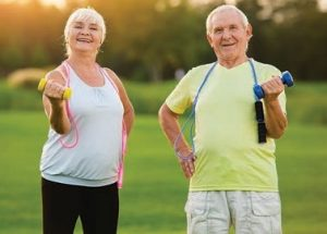 woman and man exercising outside